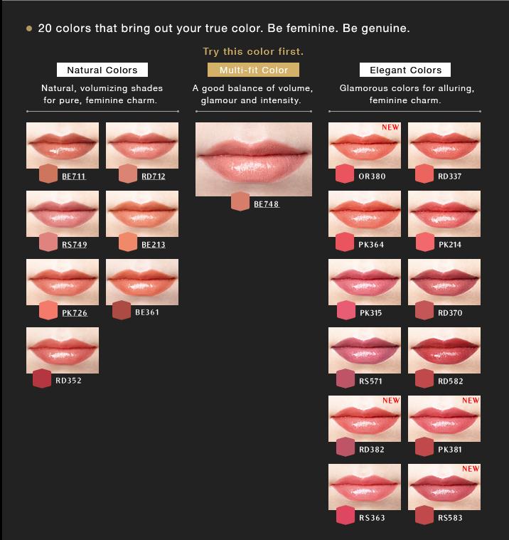 Bảng 20 màu của son môi shiseido maquillage true rouge