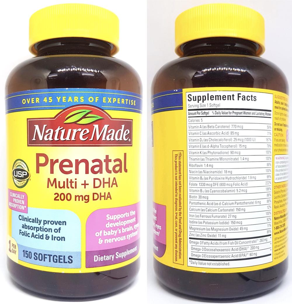 dha vitamin dha nature made prenatal muti my cho ba bau
