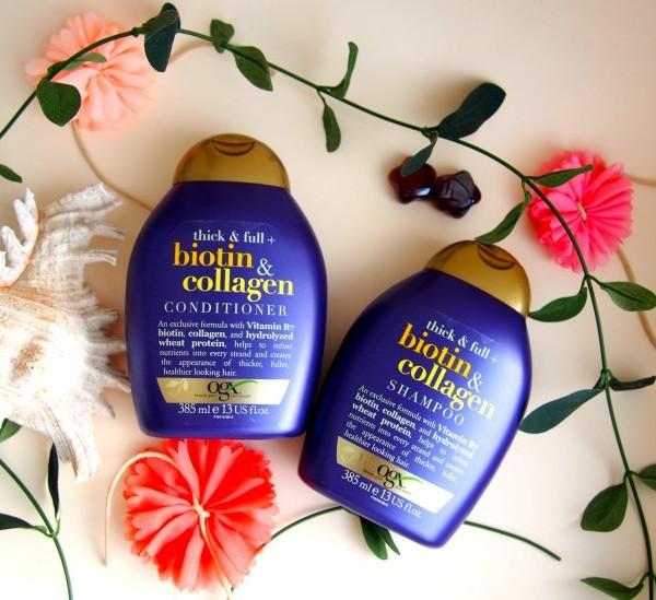 Bộ dầu gội xả kích thích mọc tóc Biotin Collagen Organix Thick & Full từ Mỹ