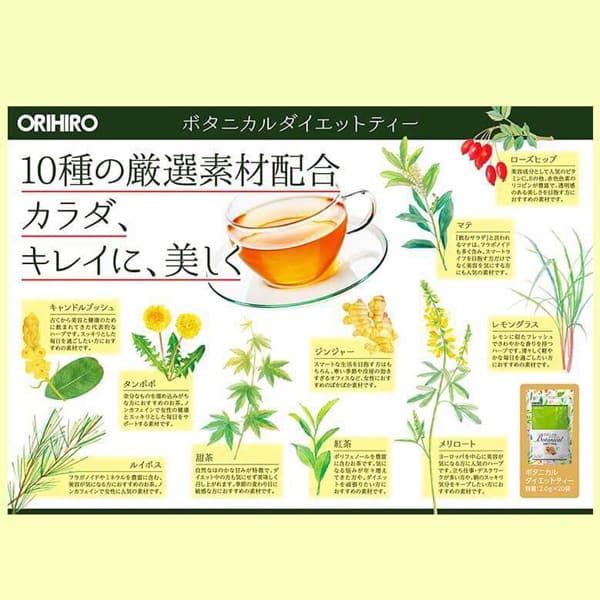 thanh phan botanical diet tea orihiro nhat ban