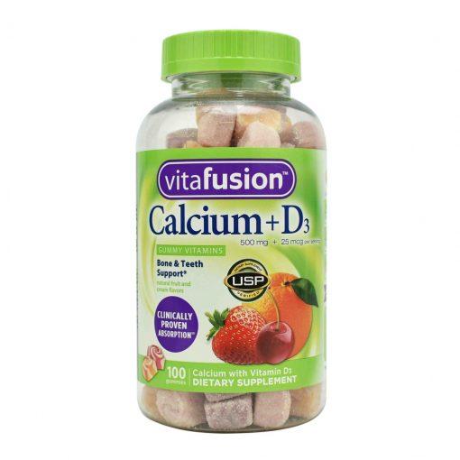 keo deo bo sung canxi vitafusion 500mg calcium d3 gummy vitamins