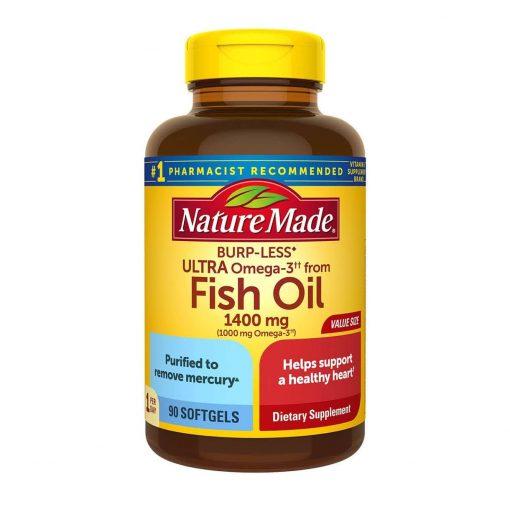 dau ca nature made fish oil 1400mg 1000mg omega 3 burp less khong tanh