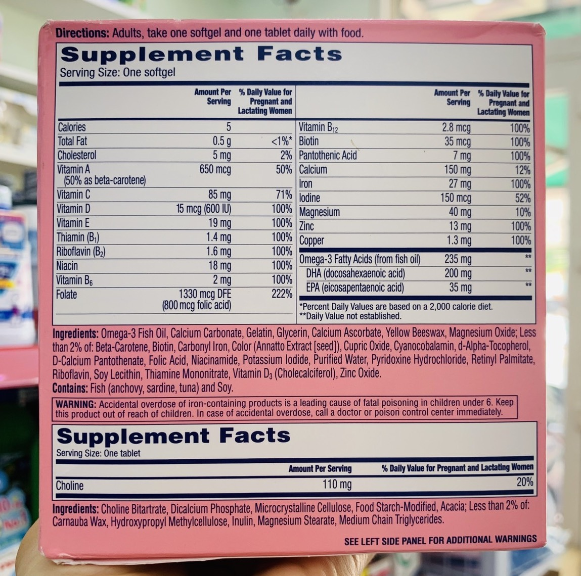 thanh phan bo ba bau one a day prenatal advanced complete multivitamin with brain support new