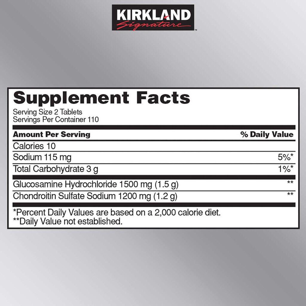 thanh phan bo xuong khop kirkland signature glucosamine 1500mg chondroitin 1200mg