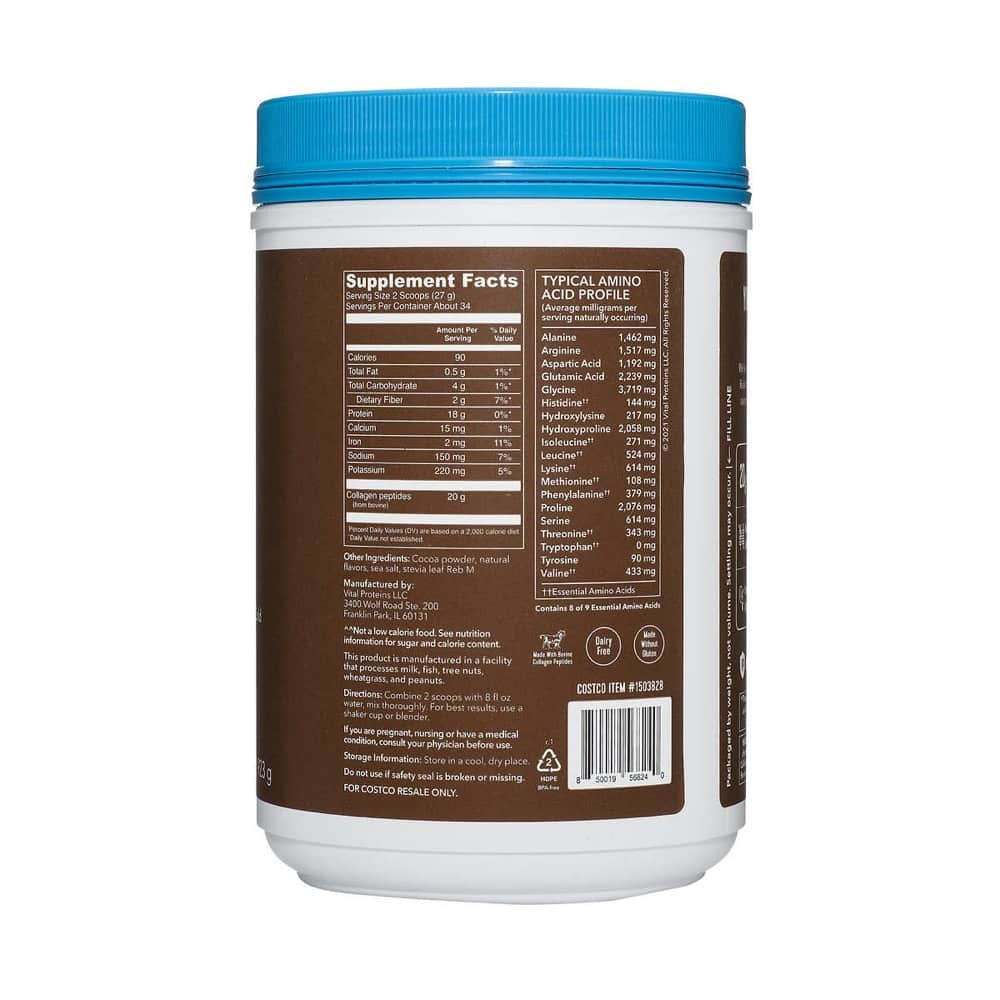 thanh phan bot collagen thuy phan vital proteins collagen peptides chocolate