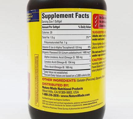 thanh phan dau hat lanh nature made flaxseed oil 1400mg 700mg omega 3 6 9 100 vien usa