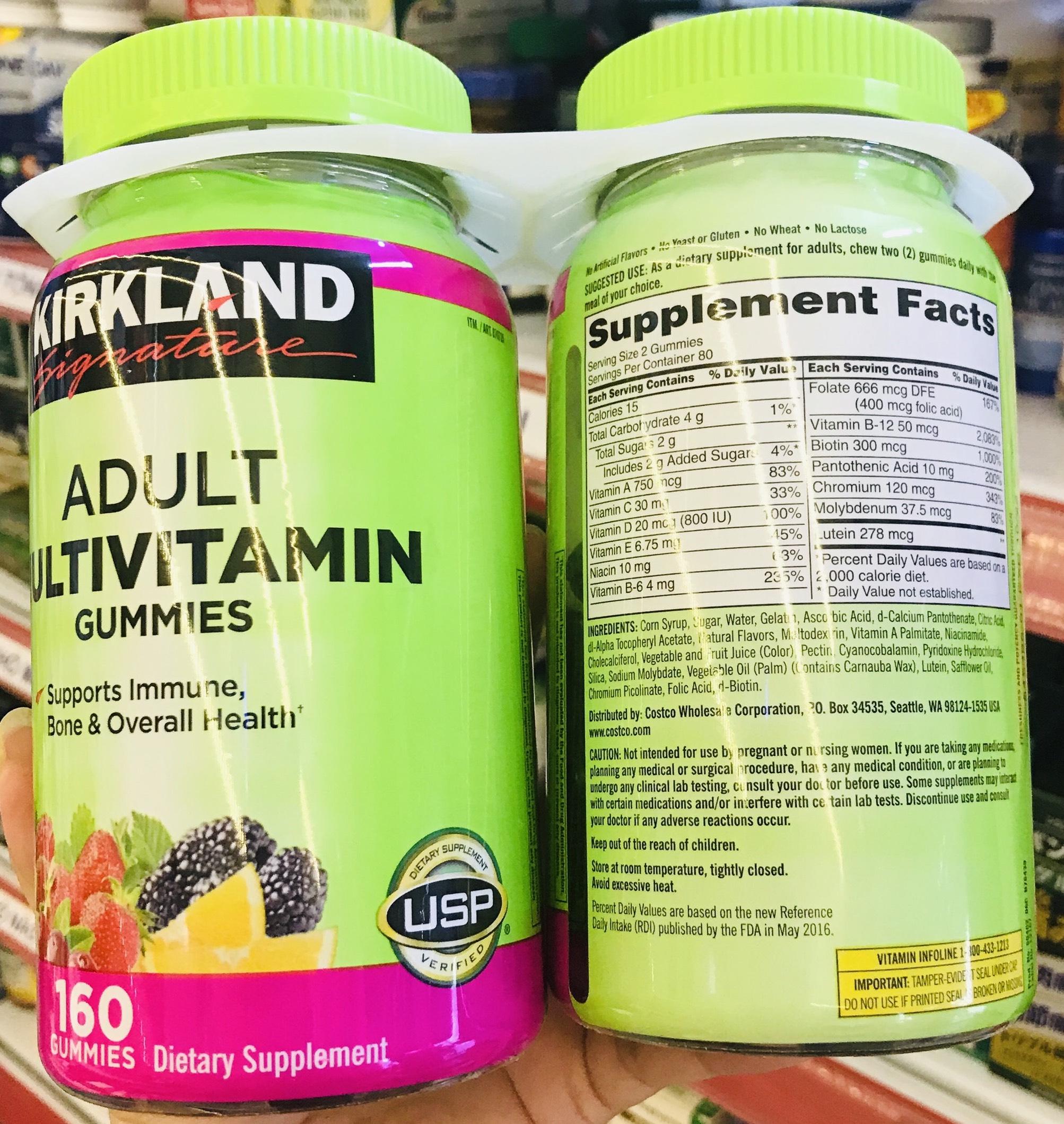 thanh phan keo deo bo sung vitamin kirkland signature adult multivitamin gummies