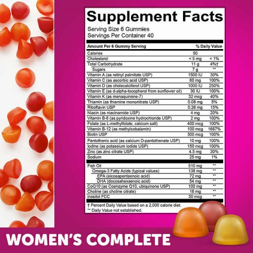 thanh phan keo deo gummy multivitamin smarty pants womens complete cho phu nu