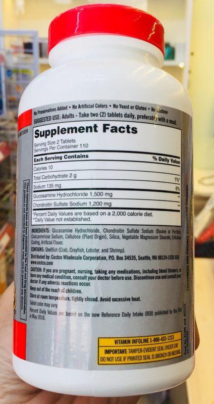 thanh phan khac bo xuong khop kirkland signature glucosamine 1500mg chondroitin 1200mg