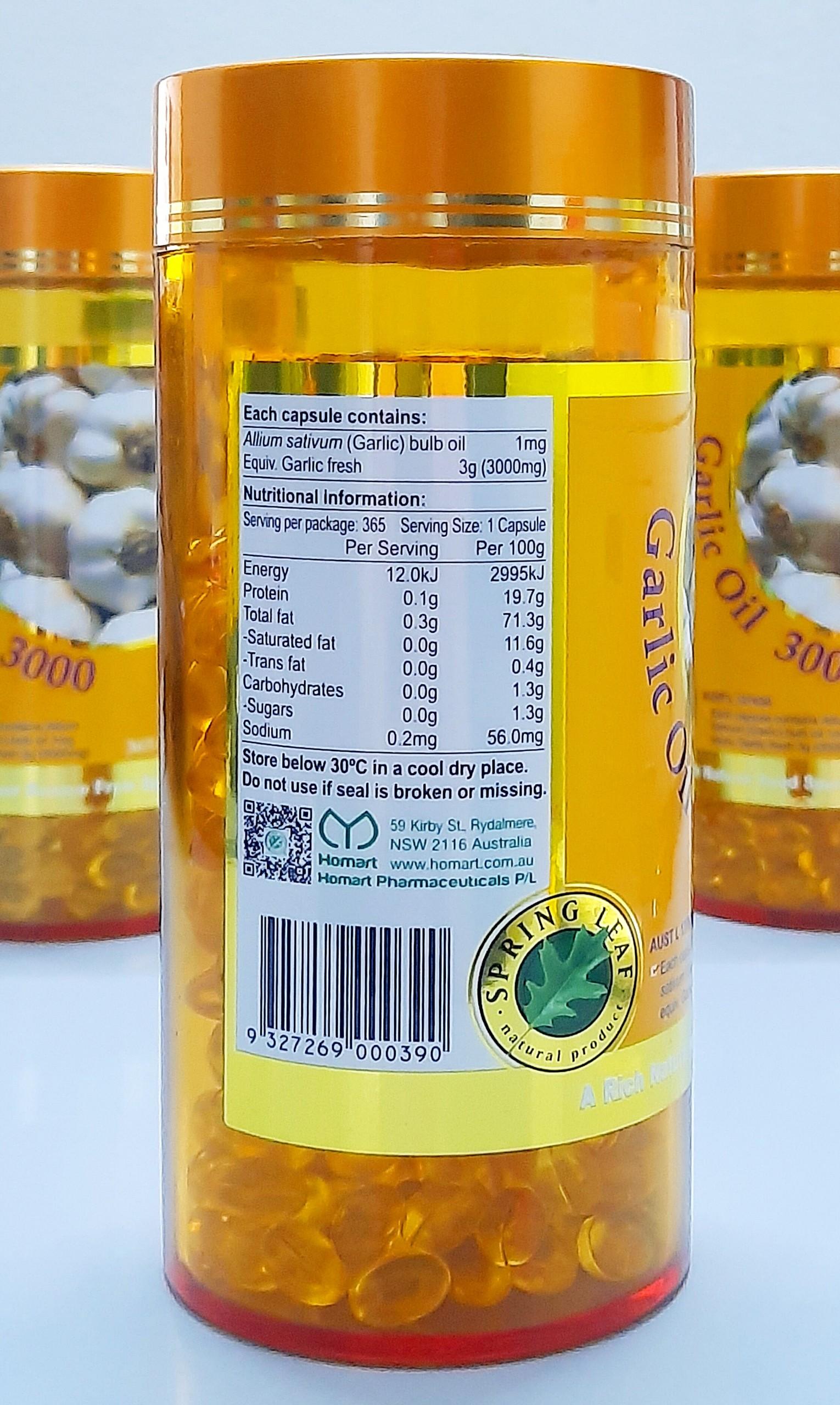 tinh dau toi spring leaf garlic oil 3000mg cua uc