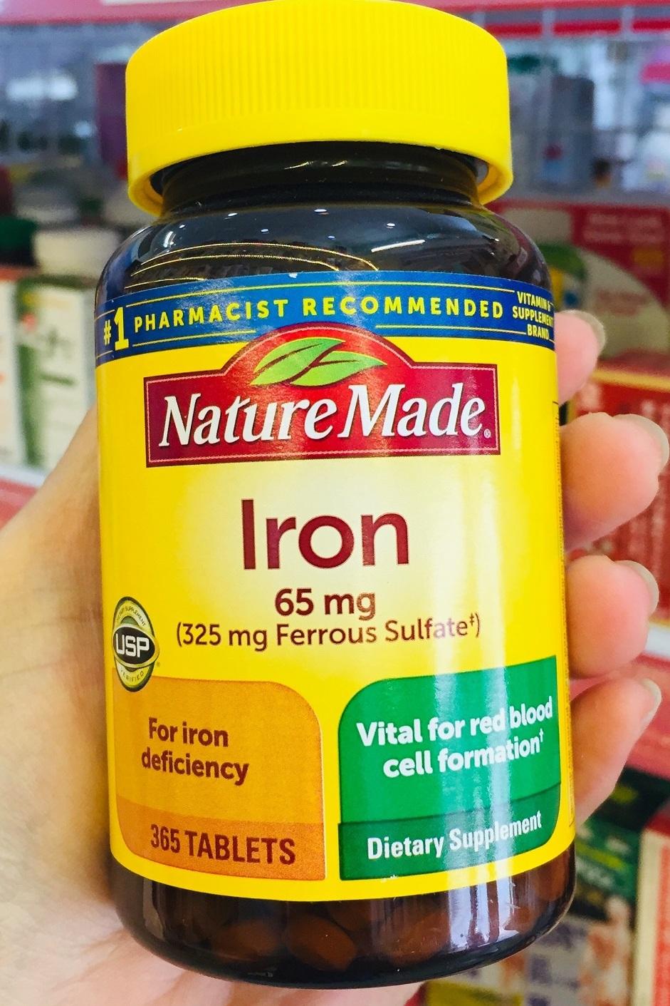 vien bo sung sat nature made iron 65 mg