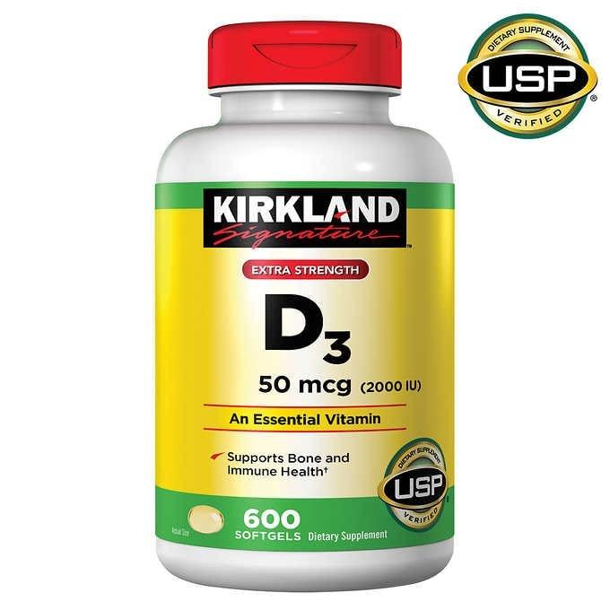 vien uong bo sung vitamin d3 2000 iu kirkland signature