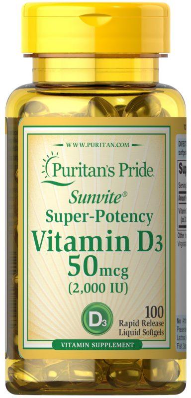 vien uong bo sung vitamin d3 puritans pride sunvite super potency