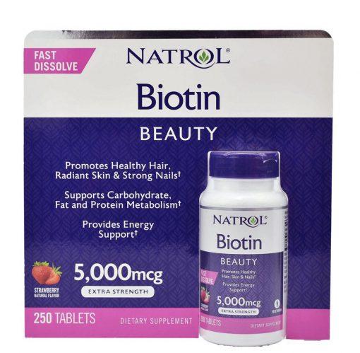 vien uong moc toc va chong rung toc natrol biotin 5 000mcg fast dissolve