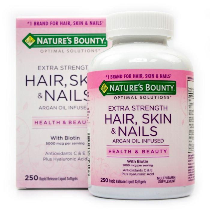 vien uong natures bounty hair skin nails with biotin 5000 mcg