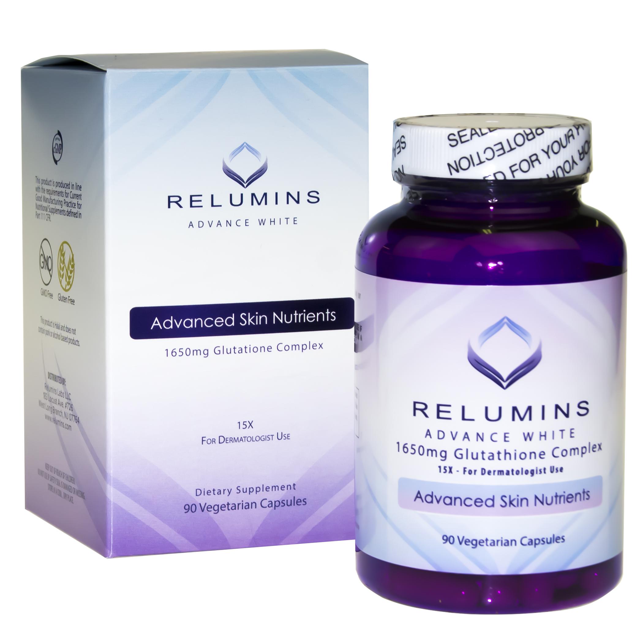 vien uong trang da relumins advance white 1650mg glutathione usa
