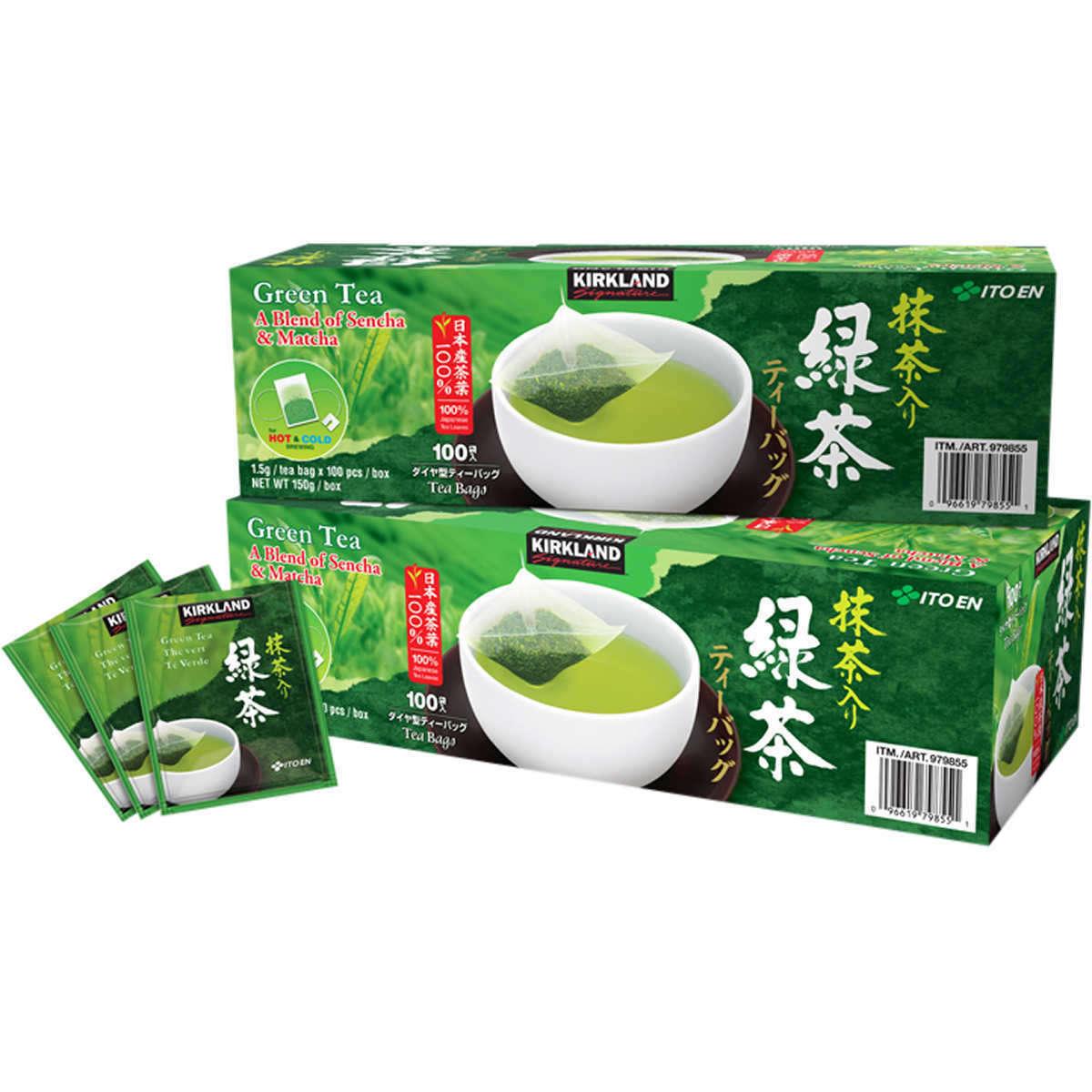 tra xanh kirkland signature green tea a blend of sencha matcha cua my